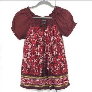 Lucky brand boho paisley floral summer blouse XS